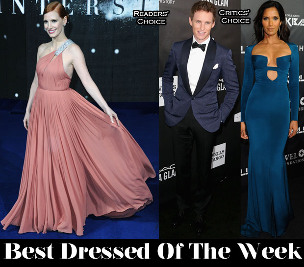 Best Dressed Of The Week - Jessica Chastain in Saint Laurent, Padma Lakshmi in Cushnie et Ochs & Eddie Redmayne in Tom Ford