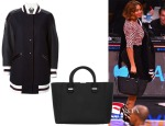 Beyonce Knowles' Fay Oversized Bomber Jacket & Victoria Beckham Quincy Matte-Leather Tote