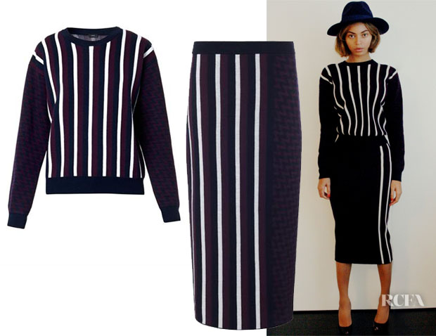 Beyonce Knowles Joseph Striped Top Skirt