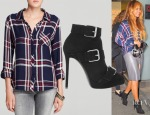 Beyonce Knowles' Rails Hunter Plaid Shirt, Giuseppe Zanotti Buckled Suede Ankle Boots & Acne Studios Kay Leather Skirt