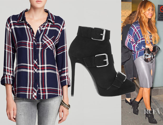Beyonce Knowles' Rails Hunter Plaid Shirt & Giuseppe Zanotti Buckled Suede Ankle Boots