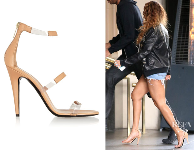 Beyonce Knowles' Tamara Mellon Frontline Leather and PVC Sandals