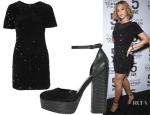 Beyonce Knowles' Topshop Flocked Sequin Bodycon Dress & Topshop Sheila Platform Shoes
