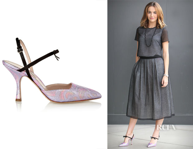 Camilla Belle's Miu Miu Satin-trimmed metallic brocade Mary Jane pumps