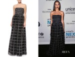 Cara Santana's Alice + Olivia Milly Strapless Beaded Windowpane-Pattern Ball Gown