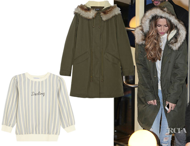 Cheryl Cole's Wanderclad Darling Striped Sweatshirt & APC Mod Faux Fur-Trimmed Twill Parka