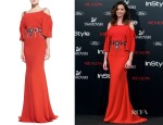 Dafne Fernandez's Carolina Herrera Cold-Shoulder Jeweled Gown