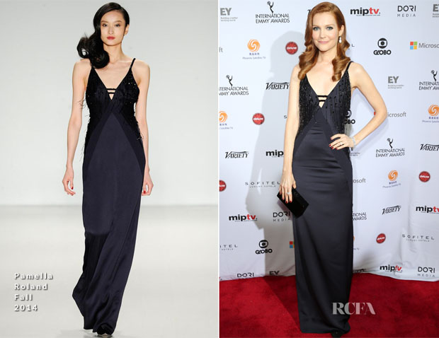 Darby Stanchfield In Pamella Roland - 2014 International Academy Of Television Arts & Sciences Emmy Awards