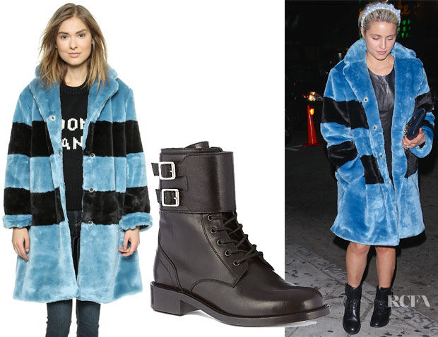Dianna Agron's Marc by Marc Jacobs Airglow Faux Fur Coat & Saint Laurent Patti Lace-Up Buckle Boots