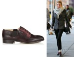 Emma Roberts' Jimmy Choo Memo Mirto Embossed Leather and Suede Slip On Brogues