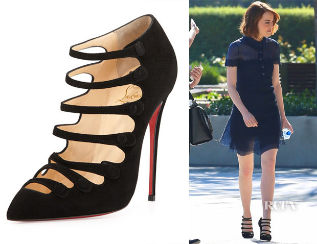 Emma Stone's Christian Louboutin  Viennana Strappy Suede Booties