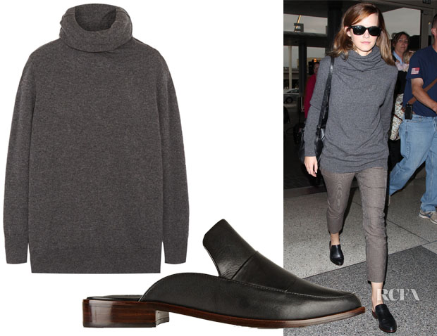 Emma Watson's Joseph Fine-knit Cashmere Turtleneck Sweater & Tibi Denni Leather Mules
