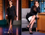 Eva Longoria In Dion Lee & Kaufmanfranco - Late Night with Seth Meyers