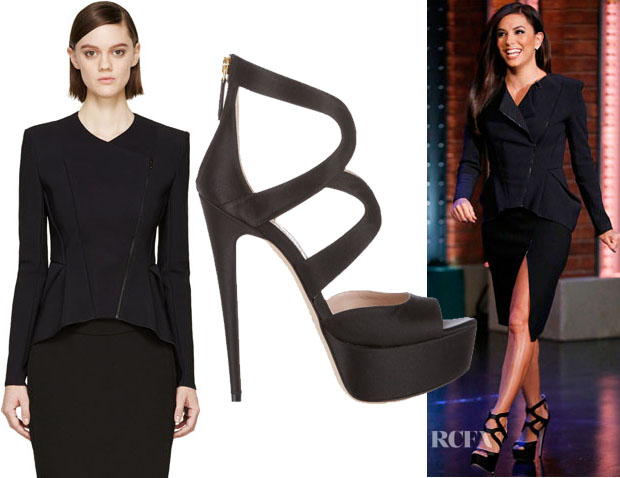 Eva Longoria's Dion Lee Black Cut-Out Lory 3D Filter Jacket & Miu Miu Satin Platform Sandals