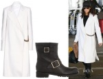 Eva Longoria's Victoria Beckham Wool Coat with Chain Embellishment & Jimmy Choo Youth Boot