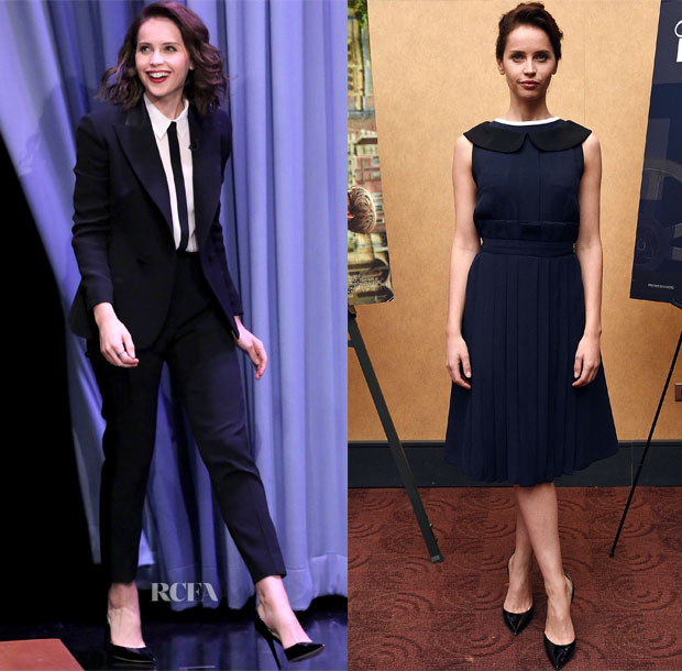 Felicity Jones In Dior, Fendi - 'Theory Of Everything' New York Promo Tour
