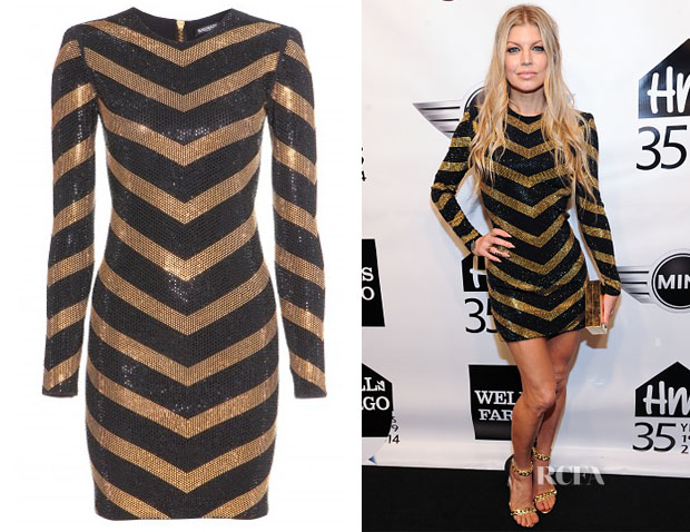 Fergie's Balmain Embellished Jersey Dress