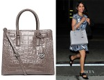 Freida Pinto's MICHAEL Michael Kors Dillon Large Glossy Croco Embossed Convertible Tote