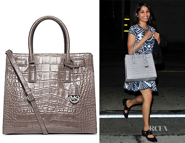 472654abe1c2 Freida Pinto's MICHAEL Michael Kors Dillon Large Glossy Croco Embossed  Convertible Tote