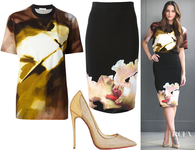 Genesis Rodriguez' Givenchy Paint Print Top, Black Orchid Pencil Skirt & Christian Louboutin Follies Resille 120 Metallic Leather and Fishnet Pumps