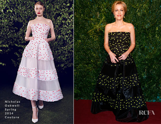 Gillian Anderson In Nicholas Oakwell Couture - 2014 London Evening Standard Theatre Awards