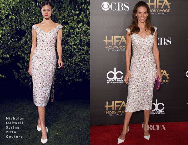 Hilary Swank In Nicholas Oakwell Couture  - 2014 Hollywood Film Awards