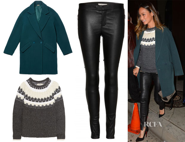 Jamie Chung's Rebecca Minkoff Sam Coat, J Brand Kasia Sweater & J Brand Beryl Skinny Stretch-Leather Trousers