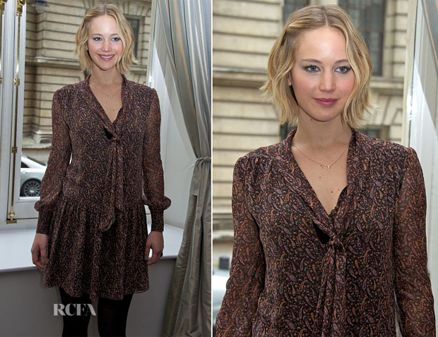 Jennifer Lawrence In Saint Laurent - 'The Hunger Games Mockingjay – Part 1′ Press Conference