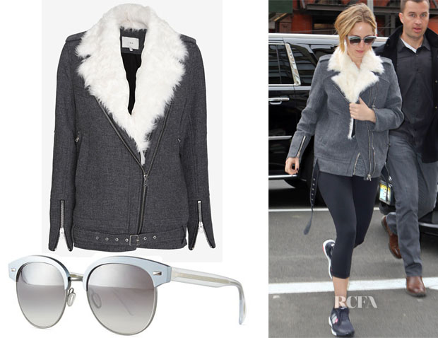 Jennifer Lawrence's IRO Cidji Shearling Wool Blend Coat & Oliver Peoples Shaelie Mirrored Semi-Rimless Sunglasses