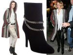 Jennifer Lawrence's Isabel Marant Hooded Caftan Coat & Saint Laurent Chain-Strap Debbie Ankle Boots
