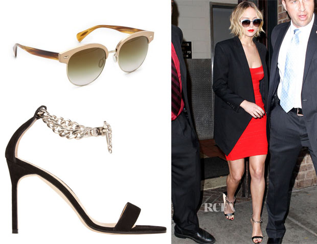 Jennifer Lawrence's Oliver Peoples Shaelie Mirrored Sunglasses & Manolo Blahnik Chaos Chain Sandals