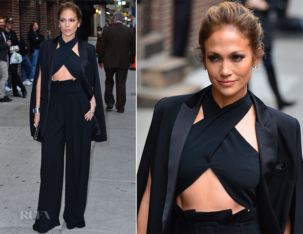 Jennifer Lopez In Noor by Noor, Milly & Paule Ka - Late Show With David Letterman