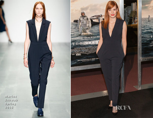 Jessica Chastain In Marios Schwab - 'Interstellar' Washington DC Premiere
