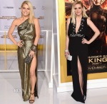 Jessica Simpson In Vintage & Ashlee Simpson In Cengiz Abazoglu - 'The Hunger Games: Mockingjay - Part 1' LA Premiere