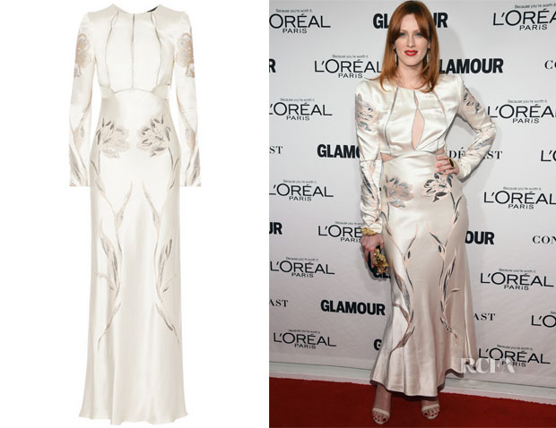 Karen Elson's Alexander McQueen Embroidered Satin-Twill Gown