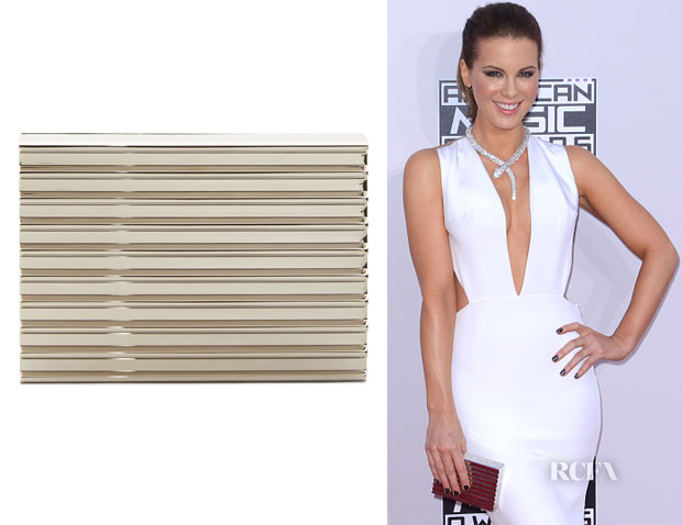 Kate Beckinsale's Lee Savage Silver Corrugated Stack Clutch