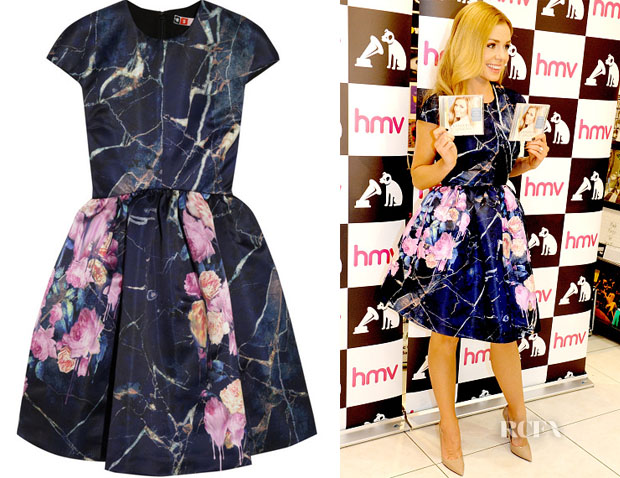 Katherine Jenkins' MSGM Printed Duchesse-Satin Mini Dress