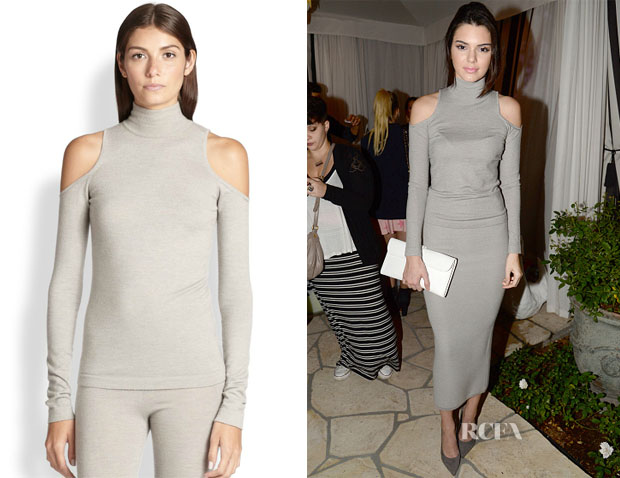 Kendall Jenner's Donna Karan Cold-Shoulder Turtleneck Sweater