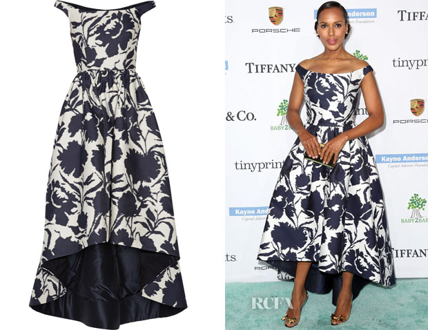 Kerry Washington's Oscar de la Renta Off-The-Shoulder Printed Cotton and Silk-Blend Dress