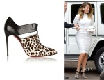 Khloe Kardashian's Christian Louboutin Corsita 100 Leather and Calf Hair Ankle Boots
