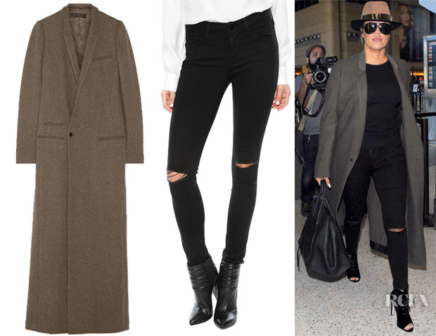Khloe Kardashian's Haider Ackermann Floor-Length Coat & Frame Denim Le Skinny Satine Ripped Jean