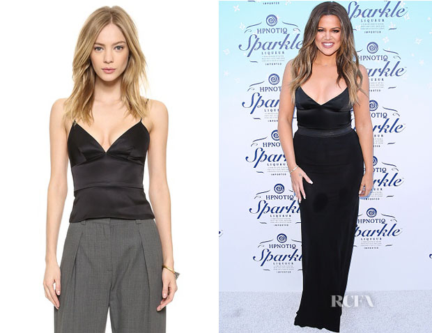 Khloe Kardashian's L'Agence Spaghetti Strap Fitted Crop Top