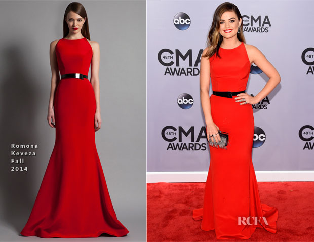 Lucy Hale In Romona Keveza - 2014 CMA Awards