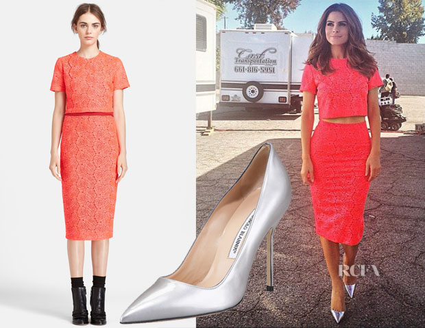 Maria Menounos ALC Thompson' Crop Top, 'Towner' Pencil Skirt & Manolo Blahnik Point-Toe Metallic Patent BB Pumps