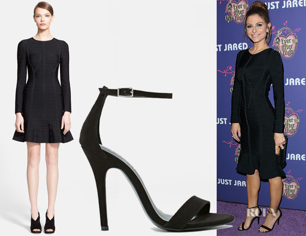 Maria Menounos' Herve Leger Long Sleeve Bandage Dress & Nasty Gal Shoe Cult Adore Sandals