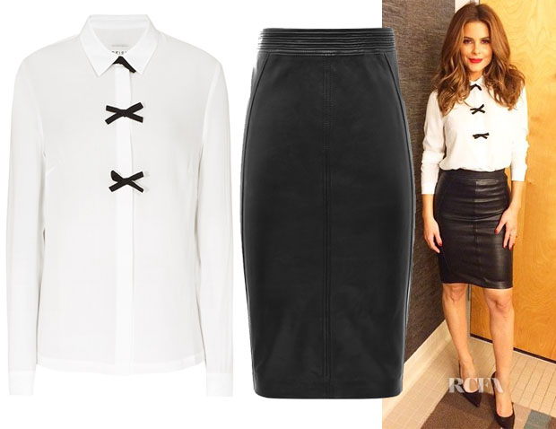 Maria Menounos' Reiss Bow Embellished Shirt & Reiss Claudette Leather Skirt