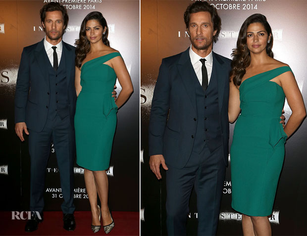 Matthew McConaughey In Dolce & Gabbana and Camila Alves In Cengiz Abazoglu - 'Interstellar' Paris Premiere