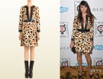 Mia Maestro's Gucci Leopard Print Leather Trim Dress