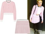 Miley Cyrus' Miu Miu Cropped Houndstooth Wool Cardigan & Pleated Skirt