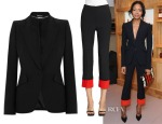Naomie Harris' Alexander McQueen Blazer and Contrast Cuff Trousers